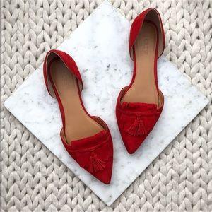 J. Crew Red Suede Tassel Fringe Loafer Flats